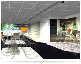Wandprint met podia in vloertextuur